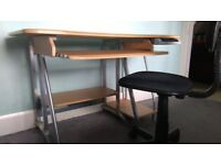 Desk and chair. Light wood and silver metal modern design.