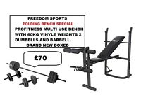 PROFITNESS MULTI USE BENCH 60KG VINYL WEIGHTS 2 DUMBELLS BARBELL (BNB)