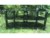 Black Glass 3 shelf TV stand good condition
