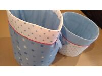 soft blue toy buckets for nursery in clean as new condition
