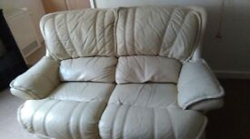 Leather 2 seater sofa 1 arm chair plus stool