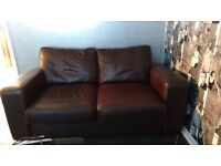 Brown leather sofa bed excellent condition, armchair and poufe