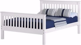 NEW white wooden 4ft6 double bed Only £169 available today