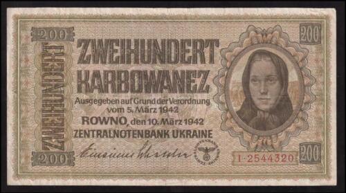 1942 200 Karbowanez Karbovantsiv Rowno German Occupation Soviet Ukraine Banknote