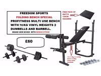 Profitness Folding bench and leg curl with 70kg vinyl weights set Brand New Boxed PLUS BONUS STOCK