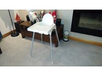 Kiddies High Chair -Used but clean and includes safety strap. Free to uplift.