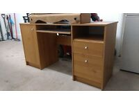 Desk with pull out shelf for keyboard - drawers one side - shelved cupboard the other)