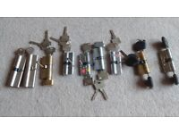 Barrels & keys for UPVC doors x9 70mm & 100mm all with at least 2 keys some with 4 - all in VGC