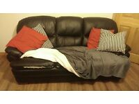 3 Seater Black Leather Sofa.
