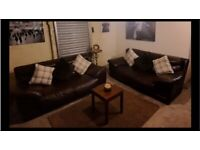SCS Brown real leather 2 x 2 seater sofas amazing comfort design and style