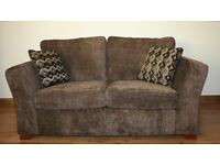 Dark brown plain fabric 2 seats sofa with FREE DELIVERY only £210