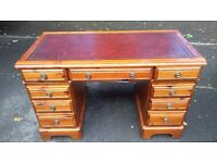 LEATHER TOP, TWIN PEDESTAL,KNEEHOLE DESK, 8 DRAWER GOOD CONDITION.....Ducal, Rosedale