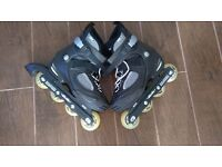 Skates Salomon FSK In Line Skates Size 6.5 With Knee, Elbow and Wrist Protection Pads