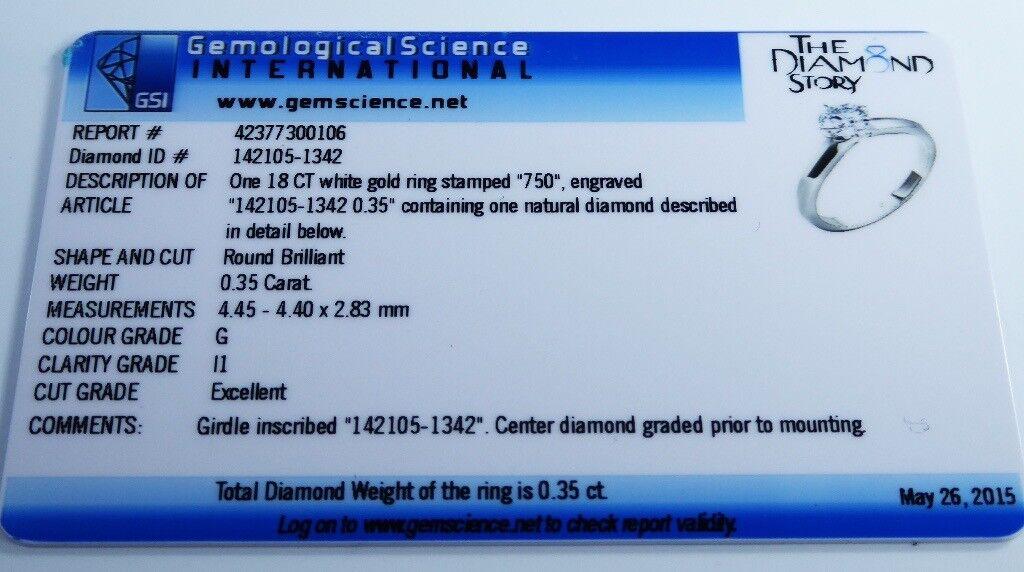"GSI Certified"" 18k White Gold ""The Diamond Story"" 0.35ct Diamond ..."