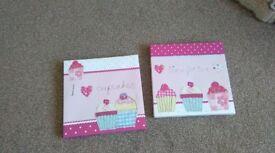 Girls cupcake canvas x2