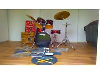 Mapex Tornada Full Kit in Dark Burgundy with Paiste Cymbals -Excellent with pads,sticks,book & CD