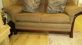 3 & 2 seater fabric sofa in dark wooden frame