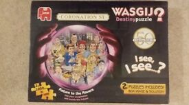 Wasgij Destiny Puzzle. ''Coronation Street'', 2 X 1000 piece jigsaw puzzles, inc in one box.