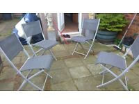 garden furniture glass table 4 fold up chairs