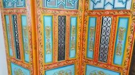 Moroccan Arabic Mexican Carved Heavy Wood Room Screen Divider