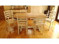 Vintage oak Refectory table and 6 chairs