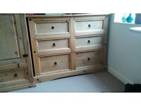 Wardrobe, chest of drawers and double bed for sale