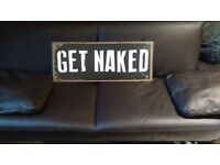 "Metal plate ""Get naked"" now available!!!"