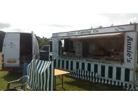 18 Foot catering trailer, van+ regularly busy pitch at huge ,successful market and car boot !