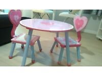 Pink cute as a button kids table and two chairs