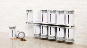 NEW Zevro KCH-06102 Zero Gravity Wall-Mount Magnetic Spice Rack Canisters, White/Silver