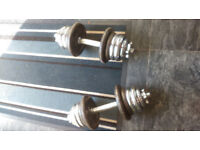 GOOD SET OF DUMBELLS SOLID STEEL