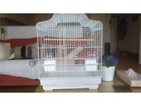 Budgie/Canary or Finch Bird Cage - 46cm x 33 cm x 50cm White New Unused