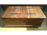 Ex John Lewis solid cherry wood blanket box chest coffee table storage