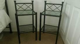 Bedside tables, pair. metal, black.