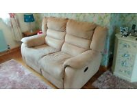 Electric reclining 2 seater settee, chair and footstool