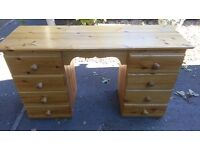 SOLID PINE DESK/DRESSING TABLE ... 8 drawers AND 5 DRAWER CHEST (open to see pics)