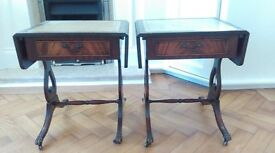 Two Matching Wooden Side Tables, with Extendable Tops.