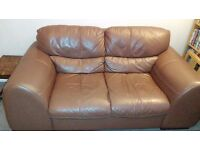 Chocolate brown Italian leather 2-seater sofa and matching armchair - super comfy!