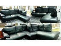 BLACK LEATHER CONTEMPORARY LARGE CORNER SOFA ON CHROME LEGS VGC AS NEW SPACE NEEDED QUICK SALE £365