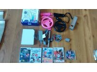 Nintendo Wii Bundle 5 Games Super Mario Kart Galaxy Just Dance 4, 2 controllers nunchucks all leads