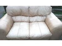 Beige leather 2 seater sofa