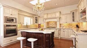 KITCHEN CABINETS, SOLID WOOD, QUARTZ TOPS, UNDERMOUNT SINKS, FAUCETS,  GREAT PRICES FREE ESTIMATES