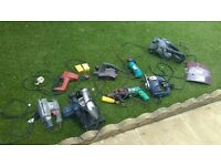 Job lot of power tools Bosch Hitachi etc circular saw power drill jigsaw + more