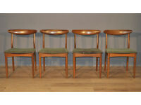 Set of Four 4 Vintage Greaves & Thomas Retro Teak Dining Chairs For Reupholstery