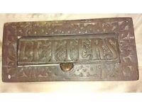 Heavy brass antique/vintage letter plate/box