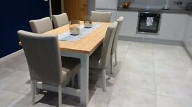 New dining table with 6 fabric chairs