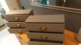 Pair of Desktop Drawers with Cup Handles, painted in Dove Grey