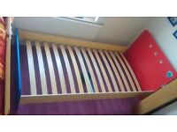 Cilek single children boys bed blue frame yellow red used very sturdy