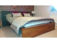 Habitat walnut wood and material double bed
