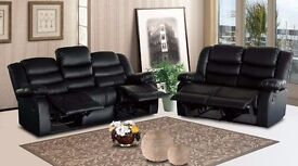 BRAND NEW ITALIAN LEATHER RECLINER 3 AND 2 SEATER WITH CUP HOLDER AVAILABLE IN BLACK/BROWN COLOR
